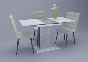 Стол обеденный Intarsio Stoun 100(135)x60 см Белая Аляска / Индастриал