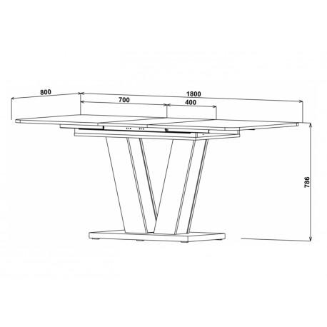 thumb Стол обеденный Torino 140(180)x80 Белая Аляска / Индастриал 7