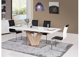Стол обеденный Alaras Белый лак / Дуб сонома 160(220)X90