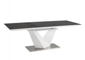 Стол обеденный Alaras II Черный эфект каменя/Белый 140(200)х85