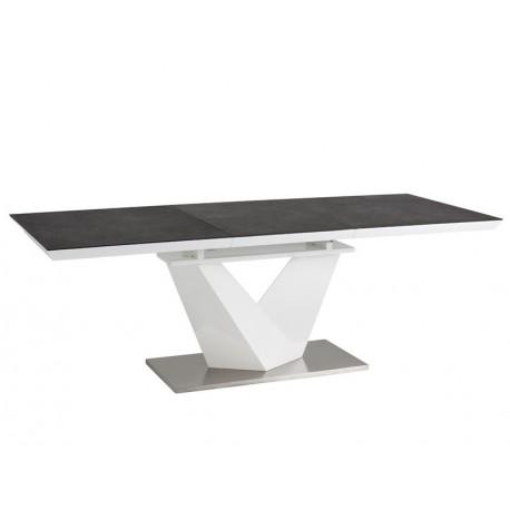 thumb Стол обеденный Alaras II Черный эфект каменя/Белый 140(200)х85 1