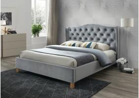 Двуспальная кровать Aspen Velvet 160X200 Серый/Дуб