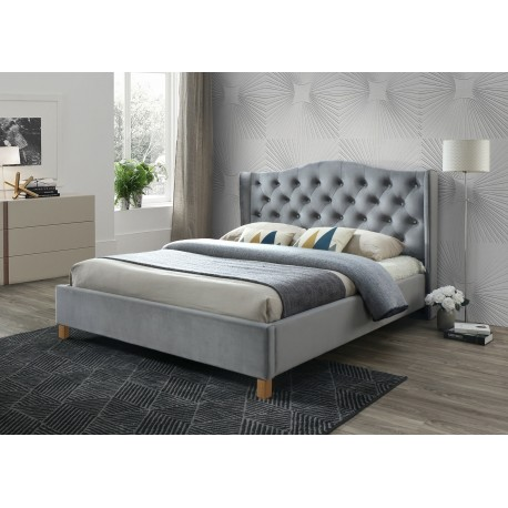 thumb Двуспальная кровать Aspen Velvet 160X200 Серый/Дуб 1