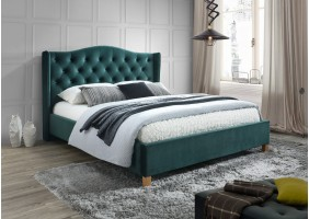 Двуспальная кровать Aspen Velvet 160X200 Зеленый/Дуб