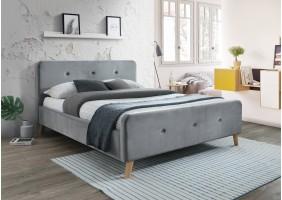 Двуспальная кровать Malmo Velvet 160X200 Серый/Дуб