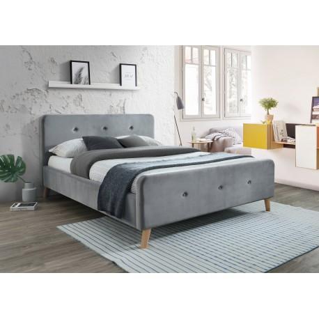 thumb Двуспальная кровать Malmo Velvet 160X200 Серый/Дуб 1
