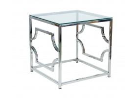 Журнальный стол Versace B 55х55 Прозрачный/Серебряный