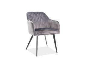 Кресло Elina Velvet Серый/Черный