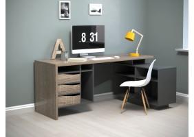 Компьютерный стол Connect 2 Дуб Сонома Трюфель/Антрацит правый