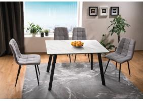 Стол обеденный Samuel 80х120 Эффект Мармура/Черный Мат