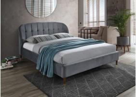 Двуспальная кровать Liguria Velvet 160X200 Серый