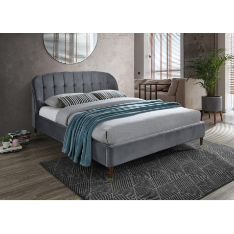 thumb Двуспальная кровать Liguria Velvet 160X200 Серый 1