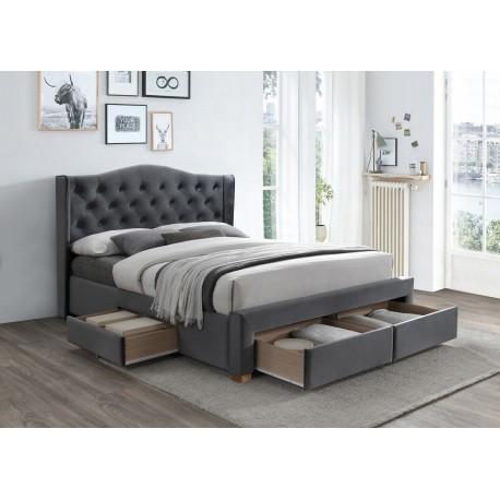 thumb Двуспальная кровать Aspen II Velvet 160X200 Серый 1