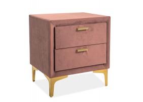 Прикроватная тумбочка Monako Velvet Античный Розовый/Золотой