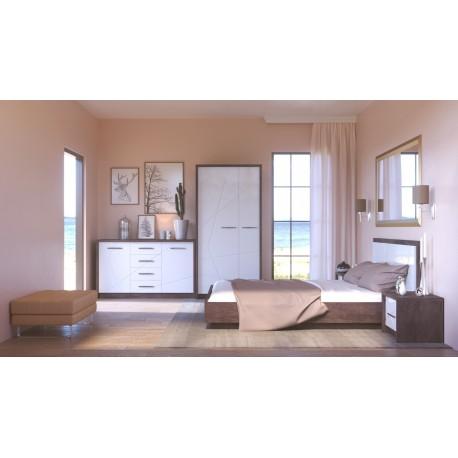 thumb Virgo L Intarsio Кровать двуспальная 160х200 см Дуб ансберг темный + ультра белый металлик 2
