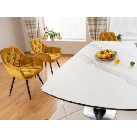 thumb Стол обеденный Armani Ceramic 160(220)х90  Эффект Мармура/Черный Мат 3