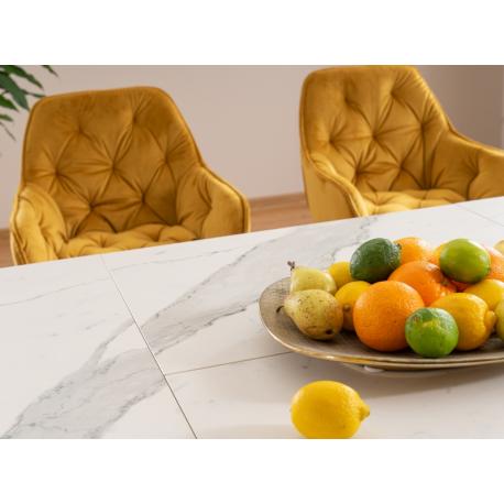 thumb Стол обеденный Armani Ceramic 160(220)х90  Эффект Мармура/Черный Мат 2