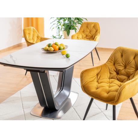 thumb Стол обеденный Armani Ceramic 160(220)х90  Эффект Мармура/Черный Мат 6