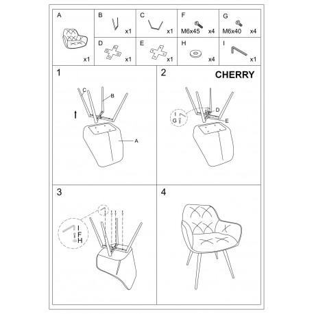 thumb Cтул Cherry Velvet Бордовый/Черный 3