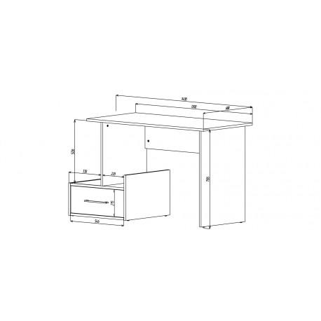 thumb Компьютерный стол Mini Maris Серый Униколор/Дуб Золотой правый 4