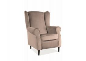 Кресло BARON VELVET беж BLUVEL 28 / венге