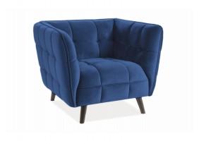 Кресло CASTELLO 1 VELVET синий BLUVEL 86 / венге