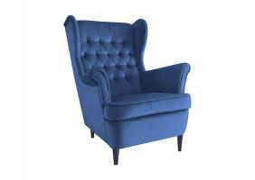 Кресло HARRY VELVET синий BLUVEL 86 / венге