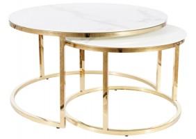 Журнальный столик MUSE белый эффект мрамора / золото (Комплект)