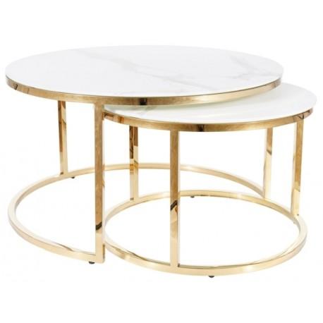 thumb Журнальный столик MUSE белый эффект мрамора / золото (Комплект) 1