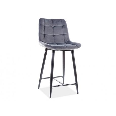 thumb Полубарный стул CHIC H-2 VELVET черный каркас / серый BLUVEL 14 1