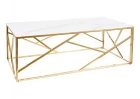 Журнальный столик ESCADA A II белый эффект мрамора / золото 120X60
