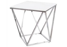 Журнальный столик SILVER B II белый эффект мрамора / сталь 50X50