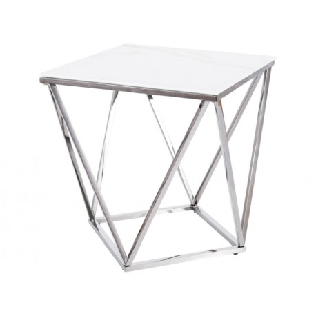 thumb Журнальный столик SILVER B II белый эффект мрамора / сталь 50X50 1