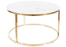 Журнальный столик SABINE белый эффект мрамора / золото Диаметр 80