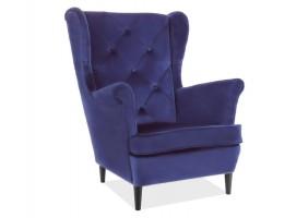 Кресло LADY MATT VELVET 78 синий / венге