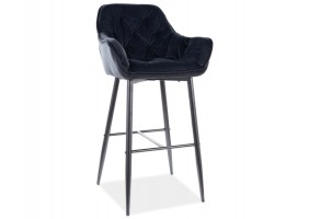 Барный стул CHERRY H-1 VELVET черный каркас / черный Черный