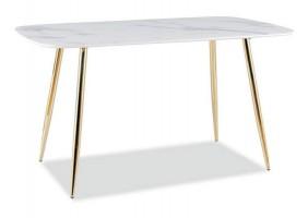 Стол CERES белый эффект мрамора / золото каркас 140X80