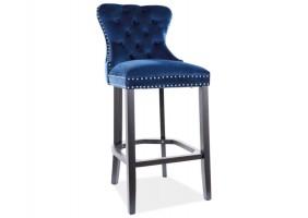 Барный стул AUGUST H-1 VELVET черный каркас / синий BLUVEL 86