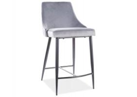 Полубарный стул PIANO B H-2 VELVET черный каркас / серый BLUVEL 14