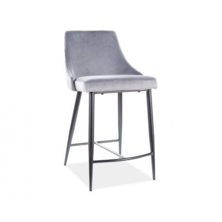 thumb Полубарный стул PIANO B H-2 VELVET черный каркас / серый BLUVEL 14 1