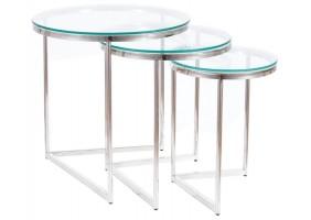 Журнальный столик TRINITY прозрачный / серебряный (Комплект)