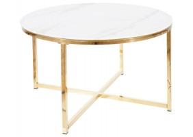 Журнальный столик SALMA белый эффект мрамора / золото Диаметр 80