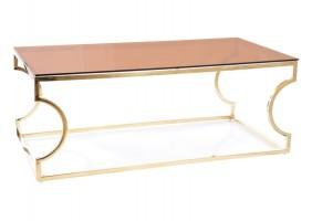 Журнальный столик KENZO A стекло дымчатое янтарное/ золото 120X60