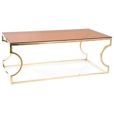 thumb Журнальный столик KENZO A стекло дымчатое янтарное/ золото 120X60 1