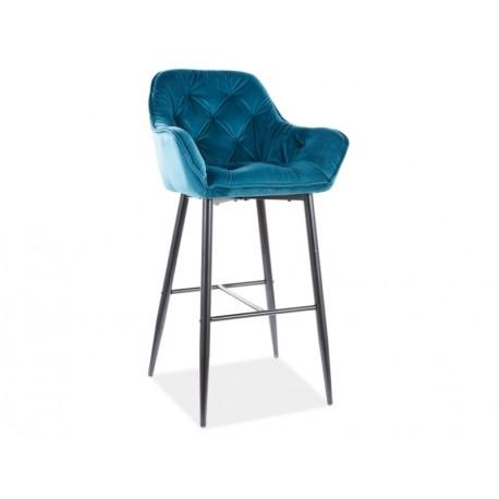 thumb Барный стул CHERRY H-1 VELVET черный каркас / БИРЮЗА BLUVEL 85 1
