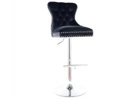Барный стул AUGUST C H-1 VELVET хром каркас / черный Черный