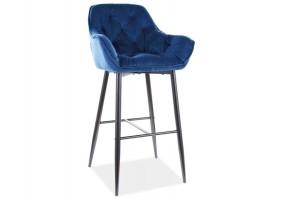 Барный стул CHERRY H-1 VELVET черный каркас / синий BLUVEL 86