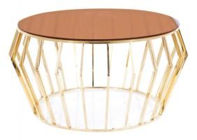 Журнальный столик ARIANA A стекло дымчатое янтарное/ золото Диаметр 80