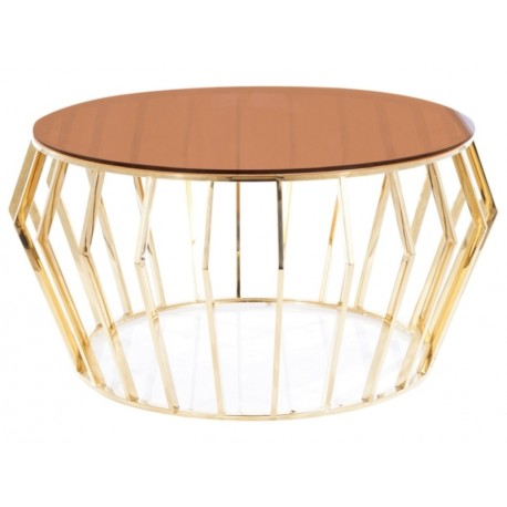 thumb Журнальный столик ARIANA A стекло дымчатое янтарное/ золото Диаметр 80 1