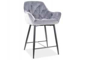 Полубарный стул CHERRY H-2 VELVET черный каркас / серый BLUVEL 14